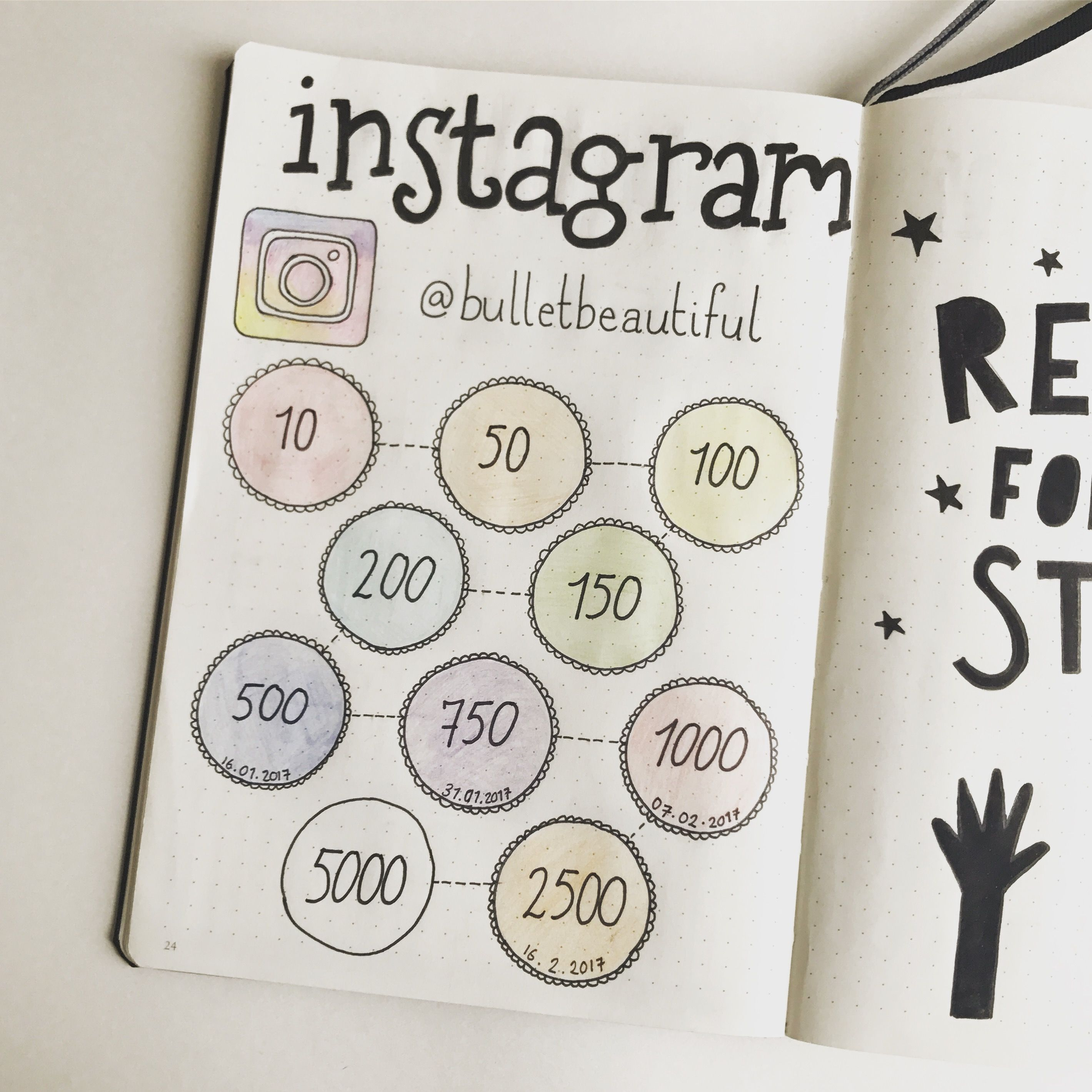 Bullet Journal Instagram Follower Tracker