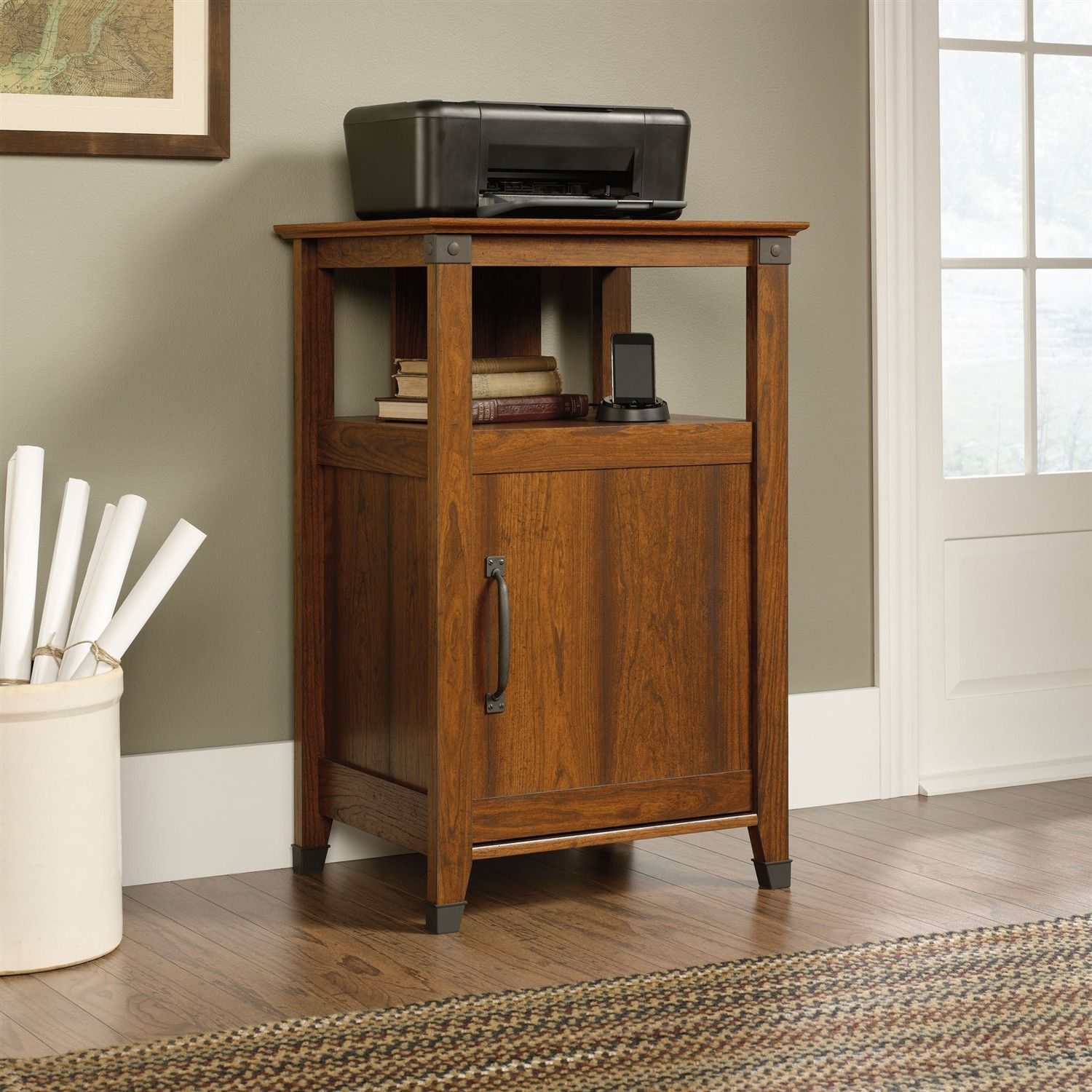 Cherry Finish Printer Stand With Open Shelf Made In Usa