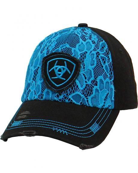 Ariat Western Womens Hat Baseball Cap Mesh Logo Snap Back Purple Pink 1595516