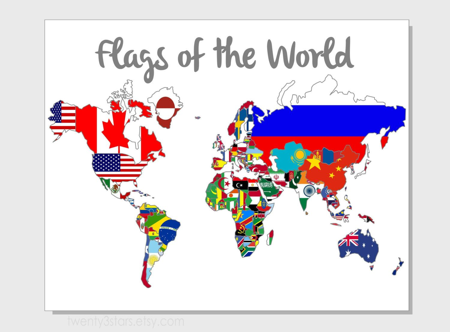 Flags of the world map 8x10 print choose your background outline background colour flags of the world map gumiabroncs Image collections