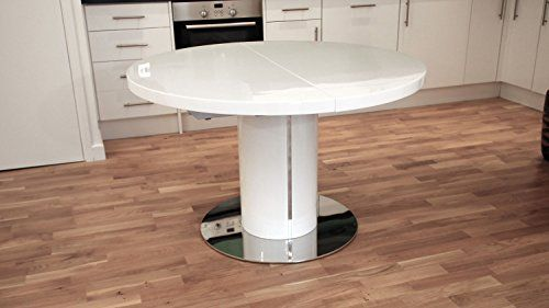 White High Gloss And 1200mm Extending To 1600mm Curva Round White