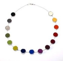 Multi-coloured round felt necklace WITH EXTENSION CHAIN- Fk154