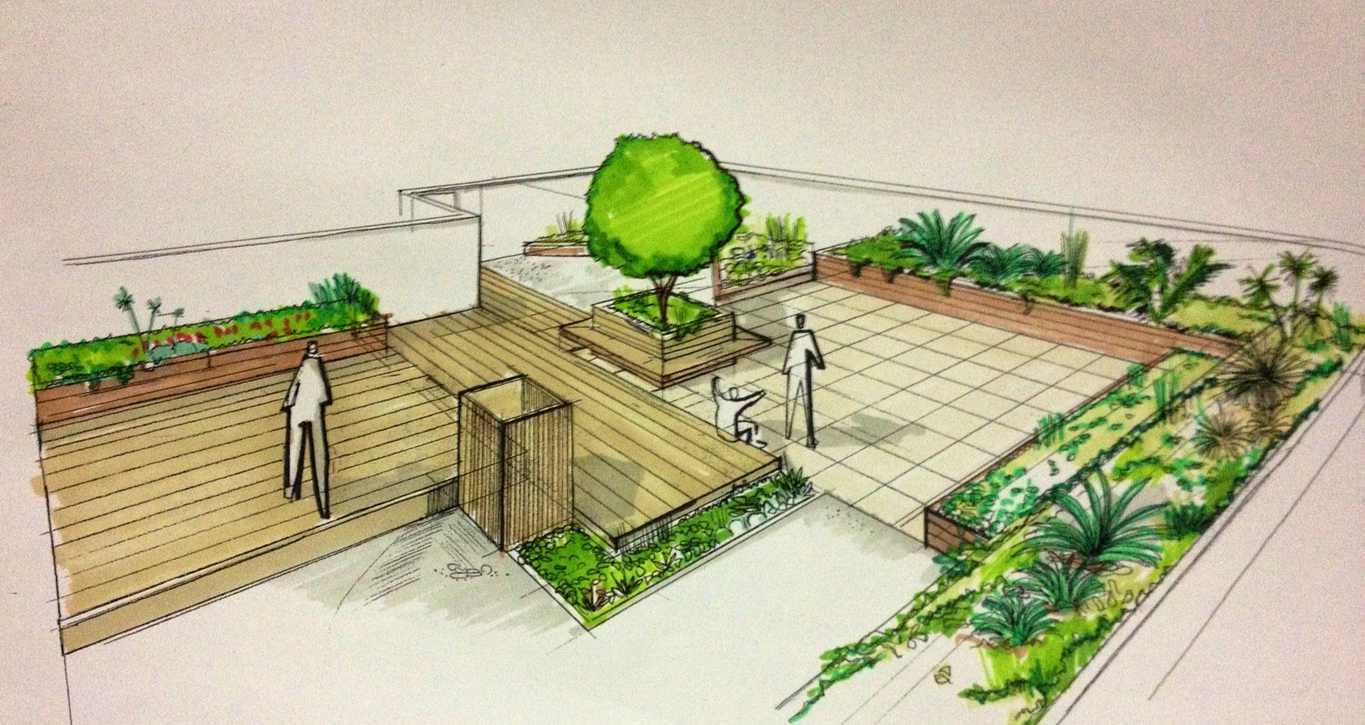 Sketch paisajismo terraza planos pinterest for Paisajismo terrazas