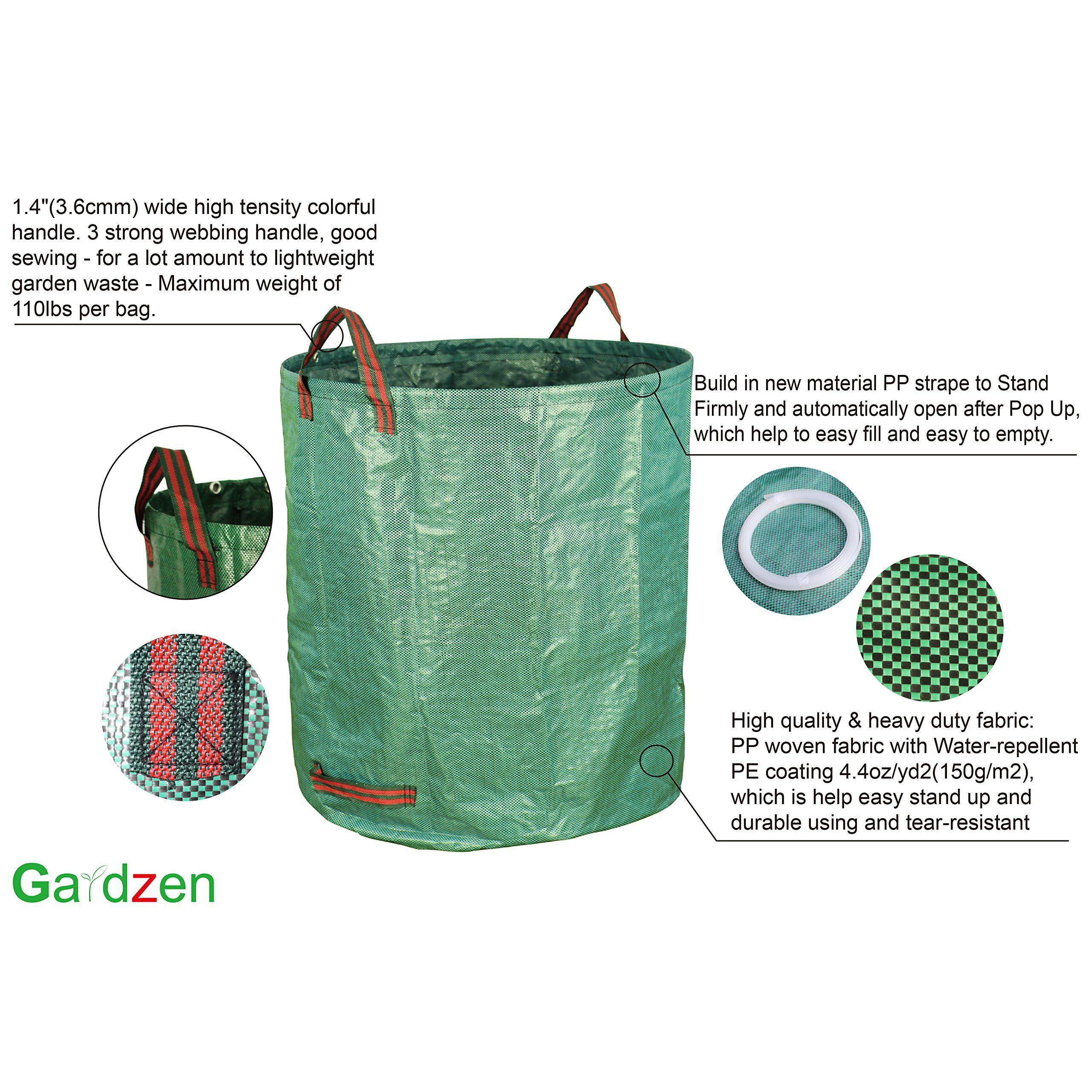 Gardzen 3pack 72 Gallons Garden Bag Reuseable Heavy Duty