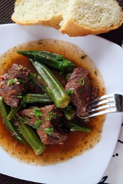 Kreas Me Mpamies Beef Okra Greek Recipes Beef Recipes Greek Cooking