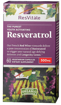 Reawaken youthful activity with this revitalizing, age-defying regimen.* Resveratrol 500 mg helps maintain youthful cellular activity with the clinically demonstrated benefits of 1,000 glasses of red wine. Our Resveratrol Polyphenol Complex™ supports longevity gene activation, promoting healthy cellular aging and a long, active life.*    *These statements have not been evaluated by the Food and Drug Adminstration.  This product is not intended to diagnose, treat, cure or prevent any disease.