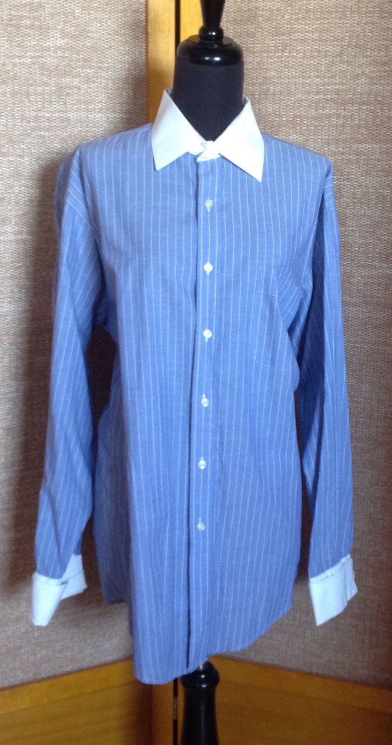Men's Blue Pinstripe Shirt, White Collar, White Cuffs for Cufflinks. Unisex Adults.