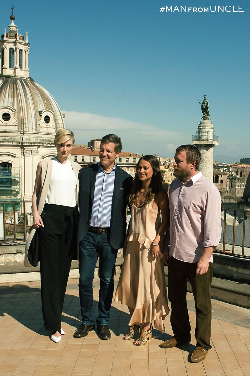 Producer Lionel Wigram And Director Guy Ritchie With The Ladies From U N C L E Elizabeth Debicki And Alicia Vikander In Rome The Man From Uncle Man The Man