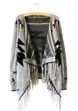 Light+Grey+Tribal+Geometrical+Pattern+Fringe+Hem+Cardigan+0.00