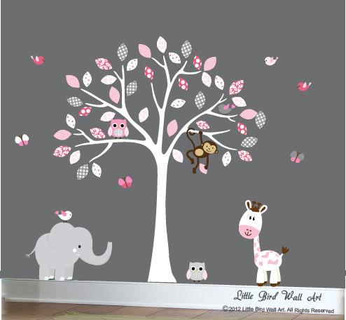 childrens white tree wall decal jungle nursery set with an elephant