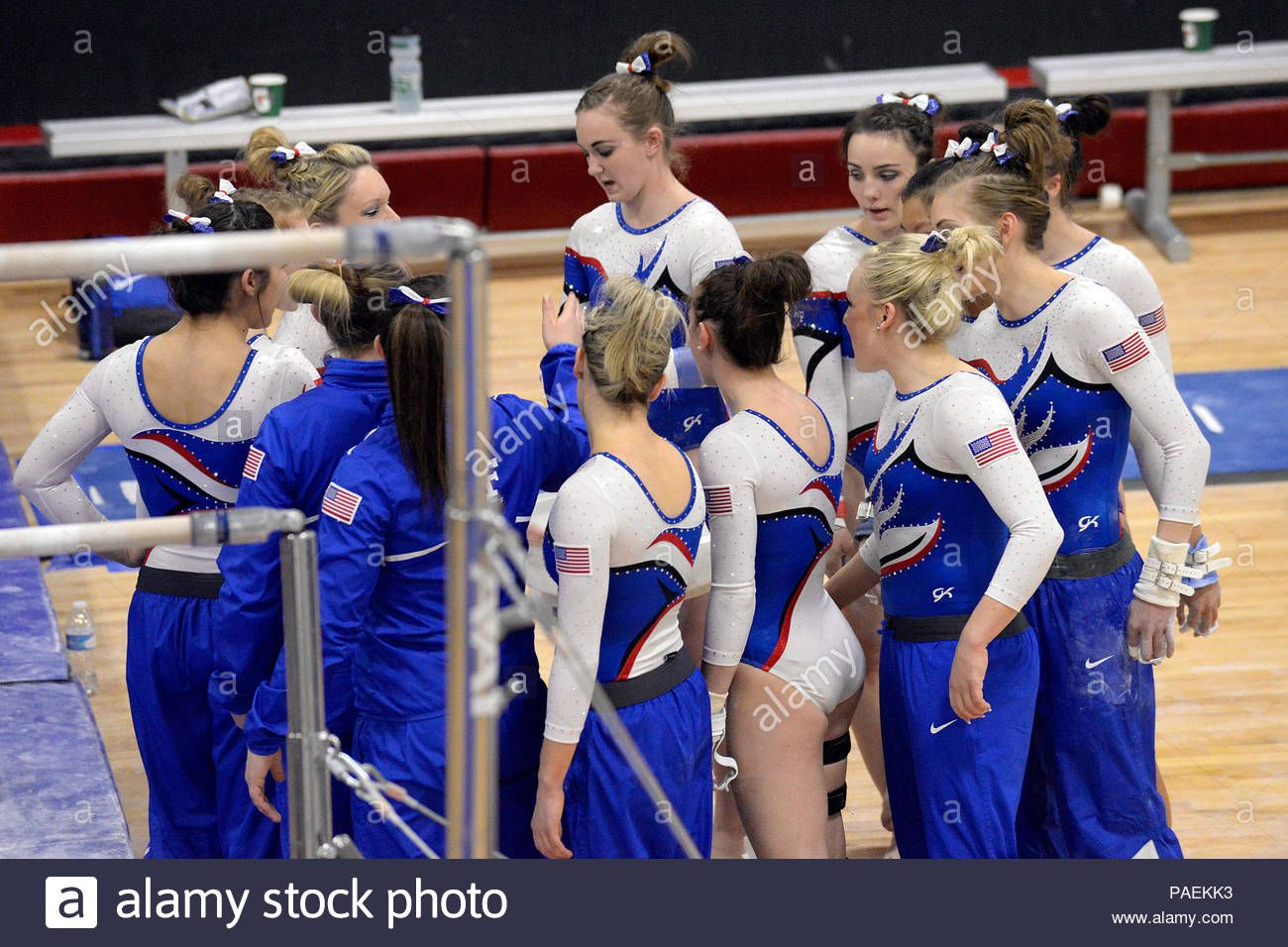 Download This Stock Image The U S Air Force Academy Women S Gymnastics Team Joins Up Before Starting The Uneven Bar Female Gymnast Gymnastics Team Gymnastics