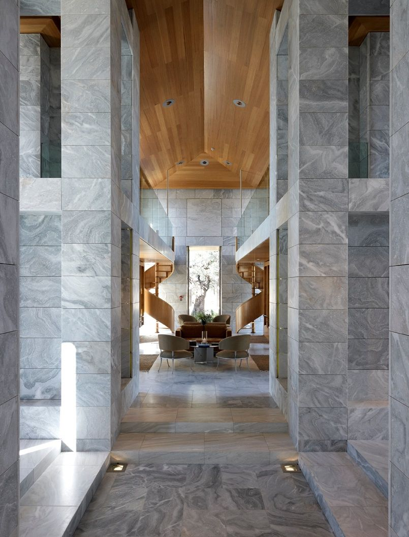Marble wall and golden staircase symmetry #symmetrical #marble #interiordesign