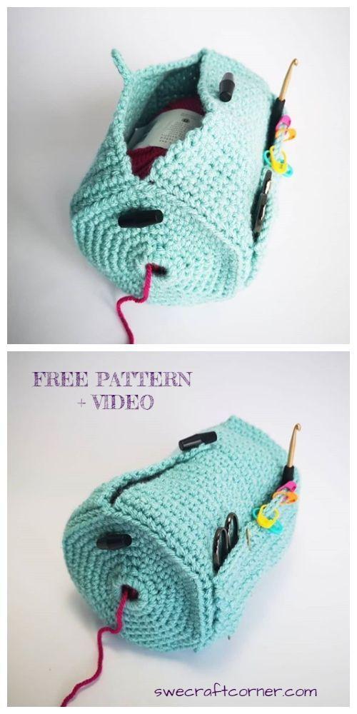 The Yarn Buddy Bag Free Crochet Pattern & Paid  #amigurumi #crochet #knitting #amigurumipatterns #crochetafghanpatterns #babycrochetpatterns #crochetafghan #yarn #crochetscarf #crochetblanket #freebabycrochetpatterns