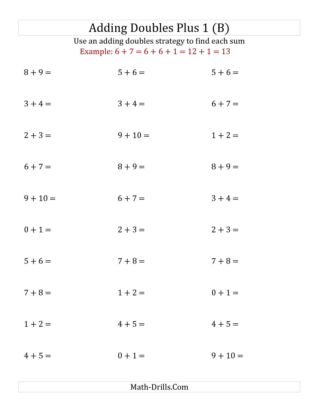 The Adding Doubles Plus 1 Small Numbers B Addition Worksheet