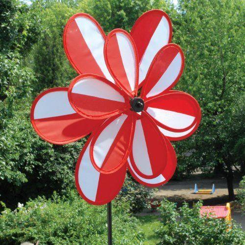 Garden Pinwheel Flower Red White Striped 27 Inches Tall