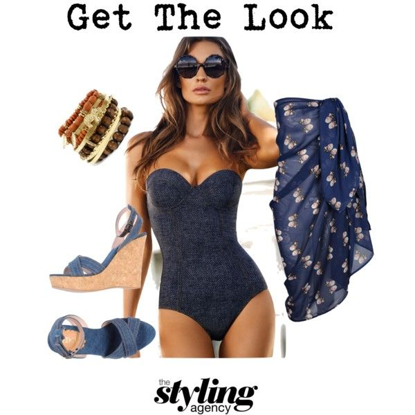 Poolside Denim  Denim can be the perfect poolside companion #summerloves #Summer #Wedges #shoes #swimsuit #swimwear #ootd #poolside #ibiza #miami #marbella #rio