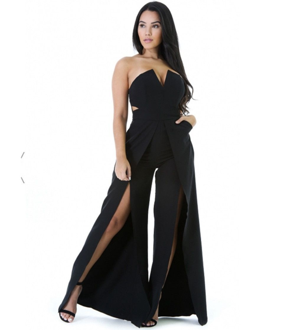 cca70c5ff08 2017 Strapless full length jumpsuit sexy off the shoulder bodycon romper  high split jumpsuit