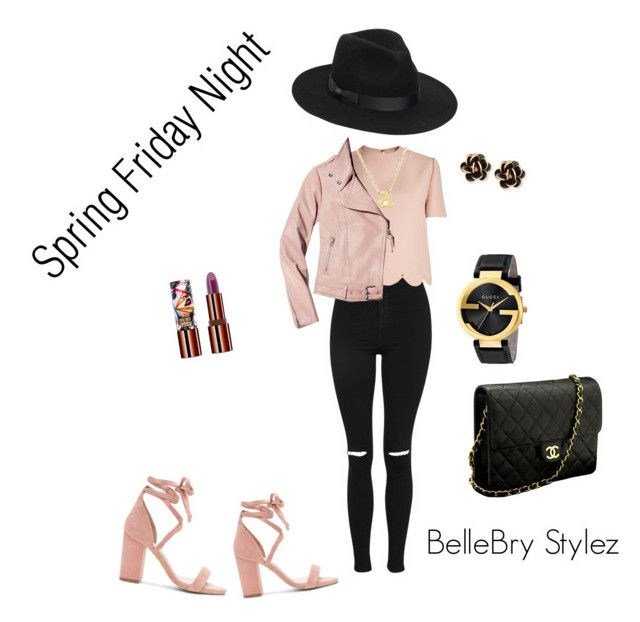 """""""Spring Friday Night"""" by ateirrahbrynae on Polyvore featuring Topshop, Valentino, Raye, Chanel, Teeez, Lack of Color, Mackage, Jane Basch, Gucci and Chantecler"""