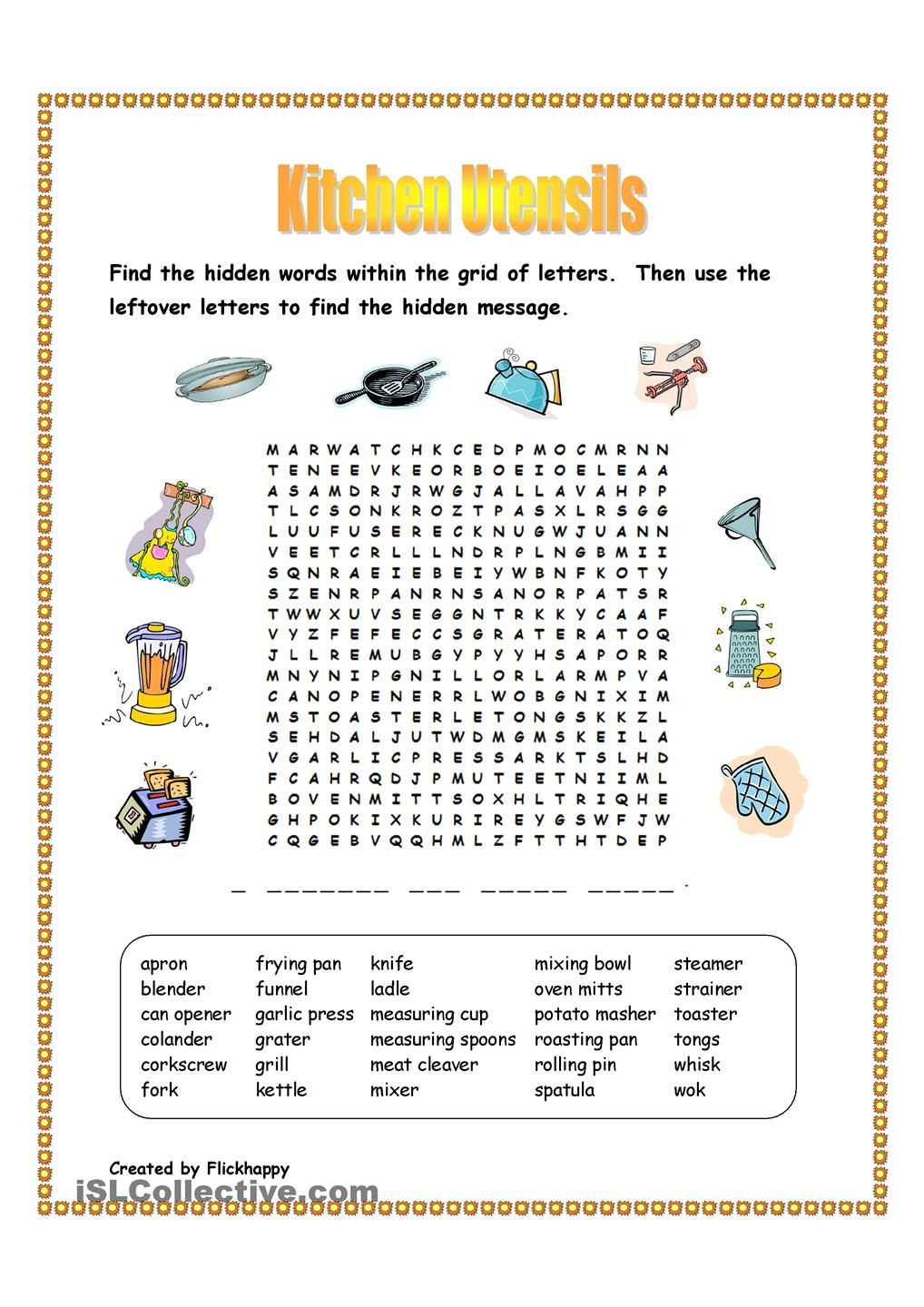 Kitchen Utensils Wordsearch Kitchen Utensils Kitchen Utensils