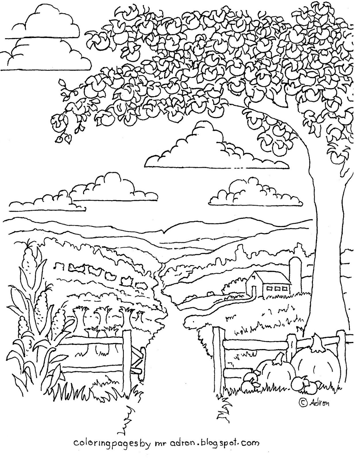 Coloring Pages For Kids By Mr Adron Printable Autumn Harvest Coloring Picture With Farm And