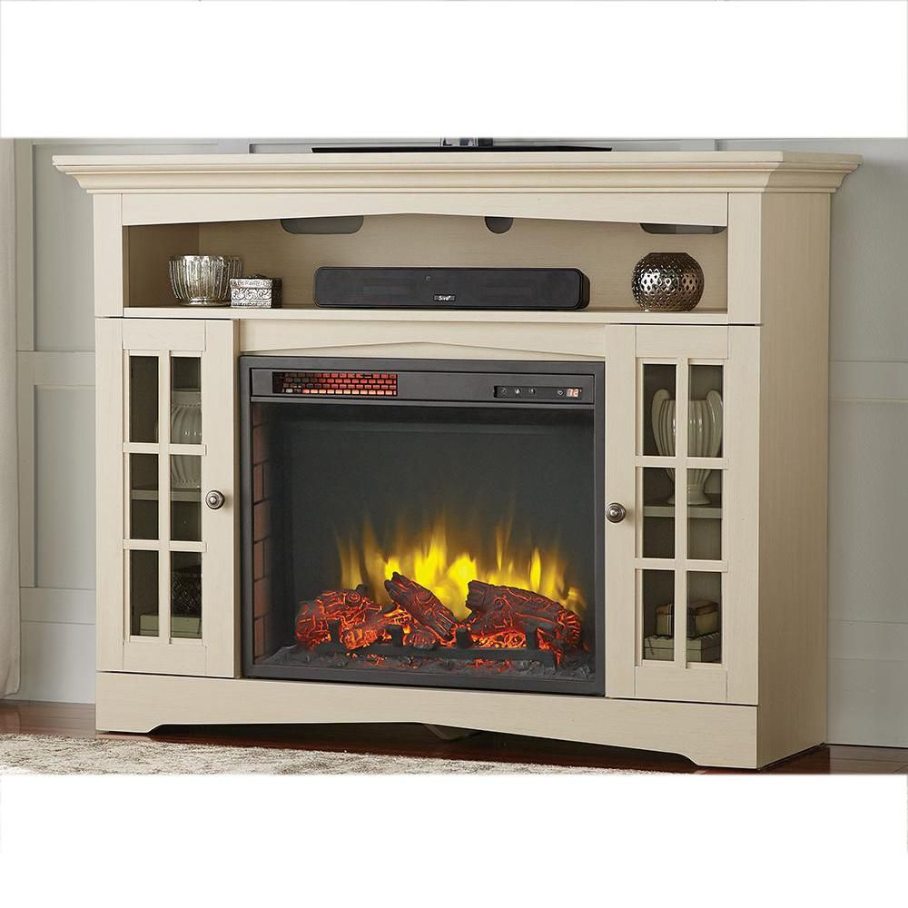 tv stand infrared electric fireplace in aged white
