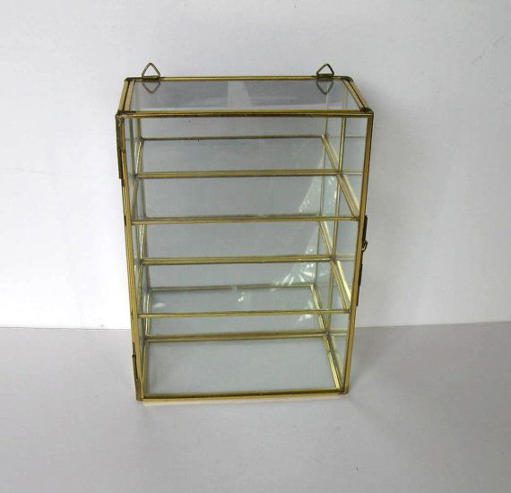 Vintage Brass Mirror Curio Cabinet Glass By Jewelryandthings2