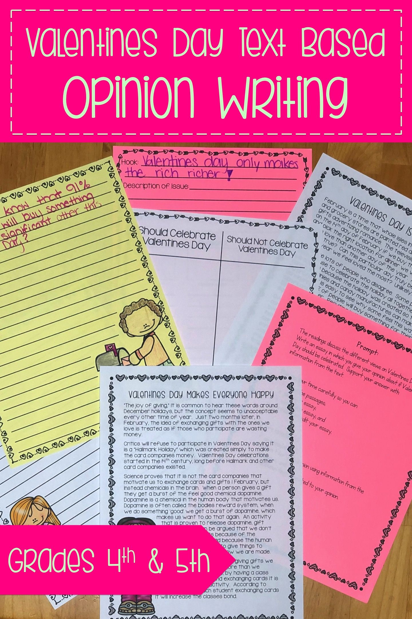 Valentines Day Text Based Opinion Writing Prompt