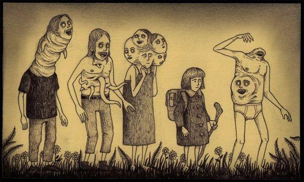 Los Terrorificos Monstruos Dibujados En Notas Pos It De John Kenn Mortensen Monster Art Arte Espeluznante Arte Horror
