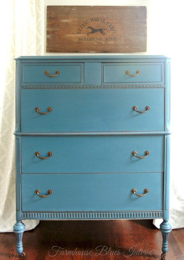 tall dresser painted in annie sloan 39 s aubusson blue furniture by. Black Bedroom Furniture Sets. Home Design Ideas