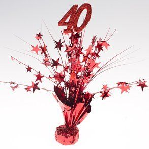 "Ruby Red ""40"" Centerpieces by Century Novelty. $21.95. A 40th Celebration To Remember. Throw a 40th birthday bash that won't be forgotten with this Red ""40"" Centerpiece. Decorate your anniversary or birthday tables with this glittery 40th centerpiece, or use as a balloon weight to hold down your helium filled balloons! 6 centerpieces per package. 40th centerpiece is approximately 15 tall. Ruby balloon weight holds up to 6 balloons. ""40"" is decorated with glitt..."