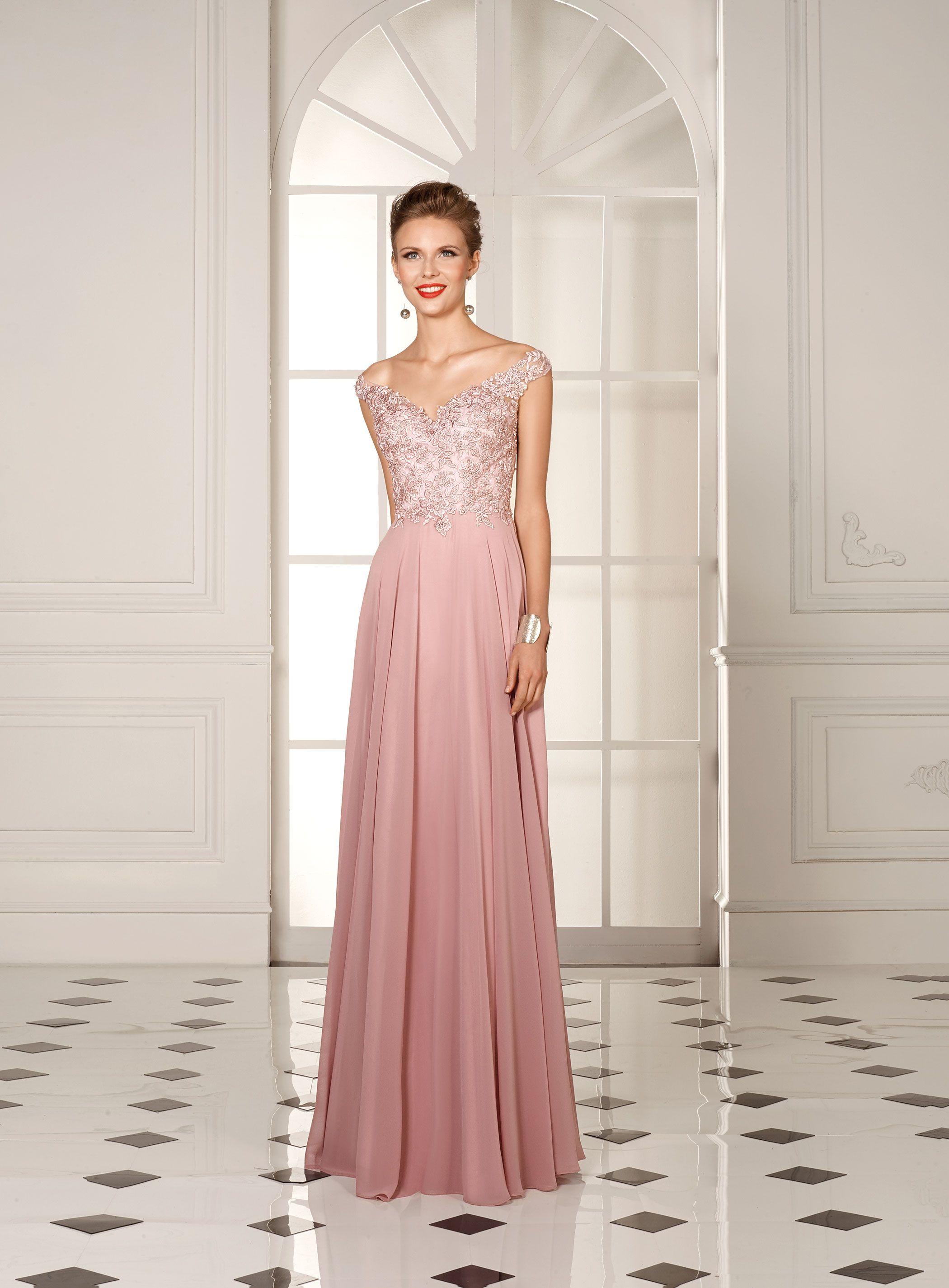 Robe longue de soiree rose poudre