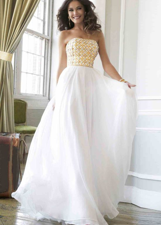 Flowy Long Strapless Beaded Chiffon Ivory Gold Prom Dress | cheap ...