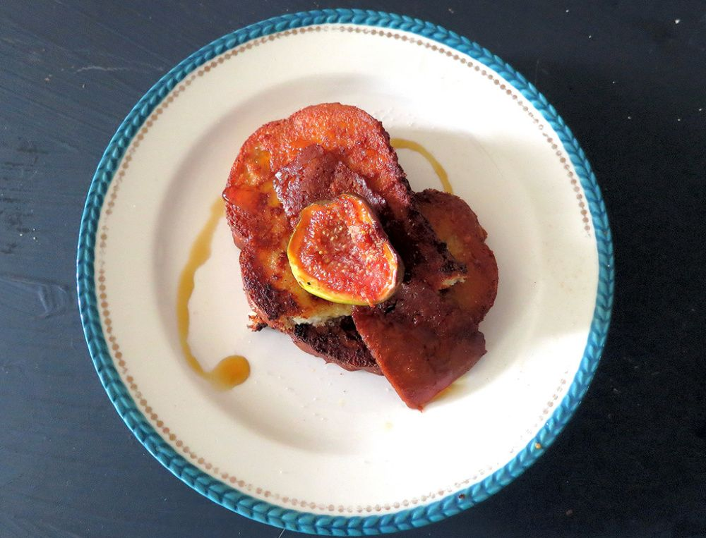 Hump Day Fronch Toast Glory with Bacon Seitan & Miso-Coconut Palm Sugar Caramelized Figs