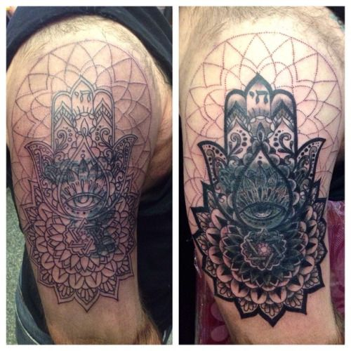 7b99c8ad3 Started this cover up. More shading to go in the actual cover up and  dot-work in background. #hamsa #mandala #blackwork #dotwork #coverup  #sacredgeometry ...