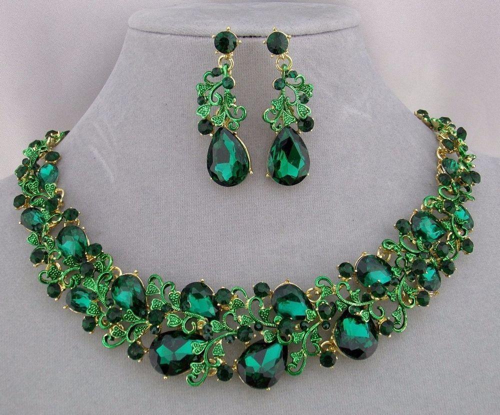 Emerald Green Rhinestone And Vine Gold