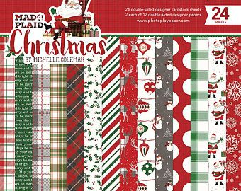 New Photo Play Mad 4 Plaid Christmas 6x6 Scrapbook Cardstock