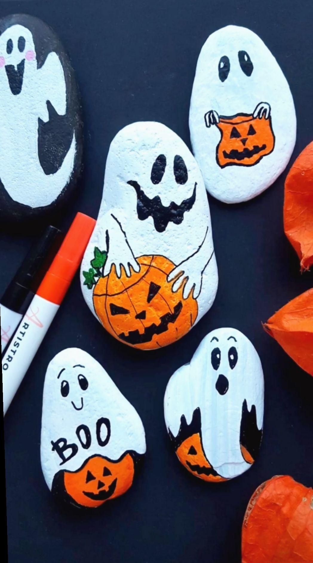 Breda Halloween.Cute Crafts Videos Quick Aderitacristina Miniensaio Miniensaiodiadascriancas Rock Painting Tutorial Rock Crafts Halloween Painting