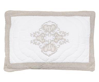 Cuscino letto in cotone Amelie tortora/bianco, 50x80 cm