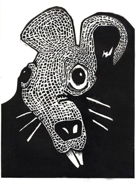 Portrait Of A Rat Woodblock Print By NikaWinnArt On Etsy 5500
