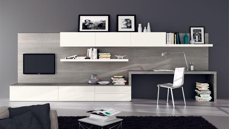 Soggiorno moderno con parete attrezzata nel 2019 for Scrivania soggiorno