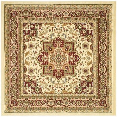 Charlton Home Harrop Ivory/Burgundy Area Rug Rug Size: Square 8'