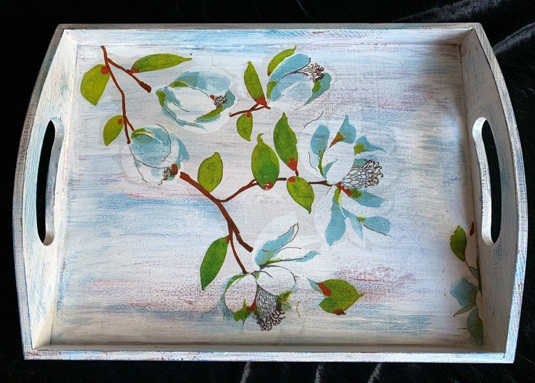 Handcrafted hand painted and decoupage wooden tray, serving tray, shabby  chic, dining room decor,   Decoupage, Wooden tray, Handcraft
