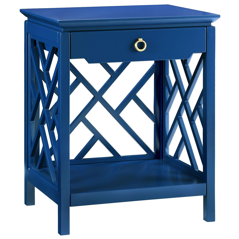Best Bungalow 5 Nantucket Blue End Table Zinc Door Blue Side 400 x 300
