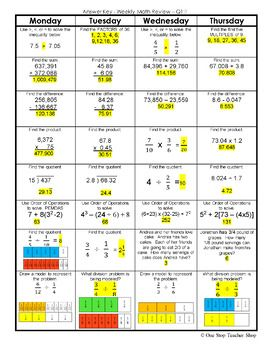6th Grade Math Spiral Review 2 Weeks Free Mathematics