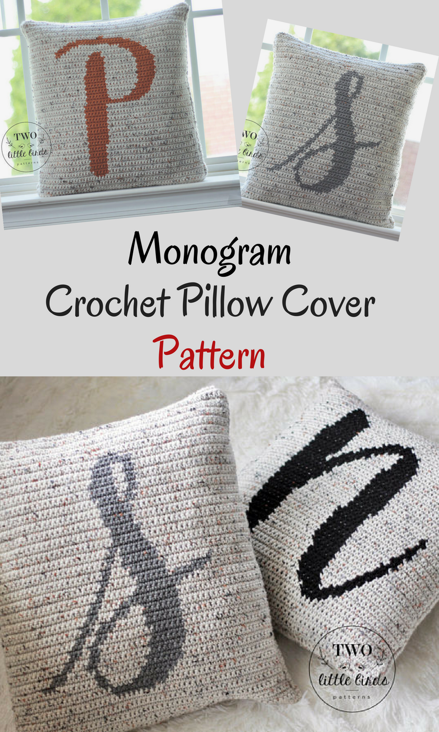 This Monogram Personalized Crochet Pillow Cover Pattern Is A Must Have For All Crocheters It Crochet Pillow Cover Pillow Covers Pattern Crochet Pillow Pattern
