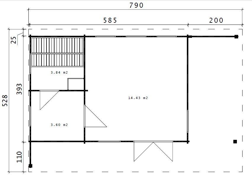Hansa Lounge XXL mit Sauna 22m² / 70mm / 8x5 Gartenhaus