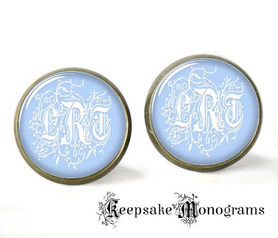 Monogram Earrings Initials Sky Dream by KeepsakeMonograms on Etsy, $8.95