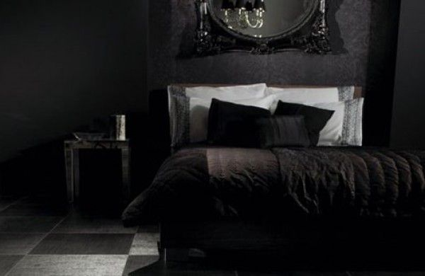 Bedroom: Impressive Gothic Bedroom Designs With Black White Ceramic Floor  Tiles Also Black Velvet Bed Cover On Luxurious Bed Also White Pillow And  Dark Side ...