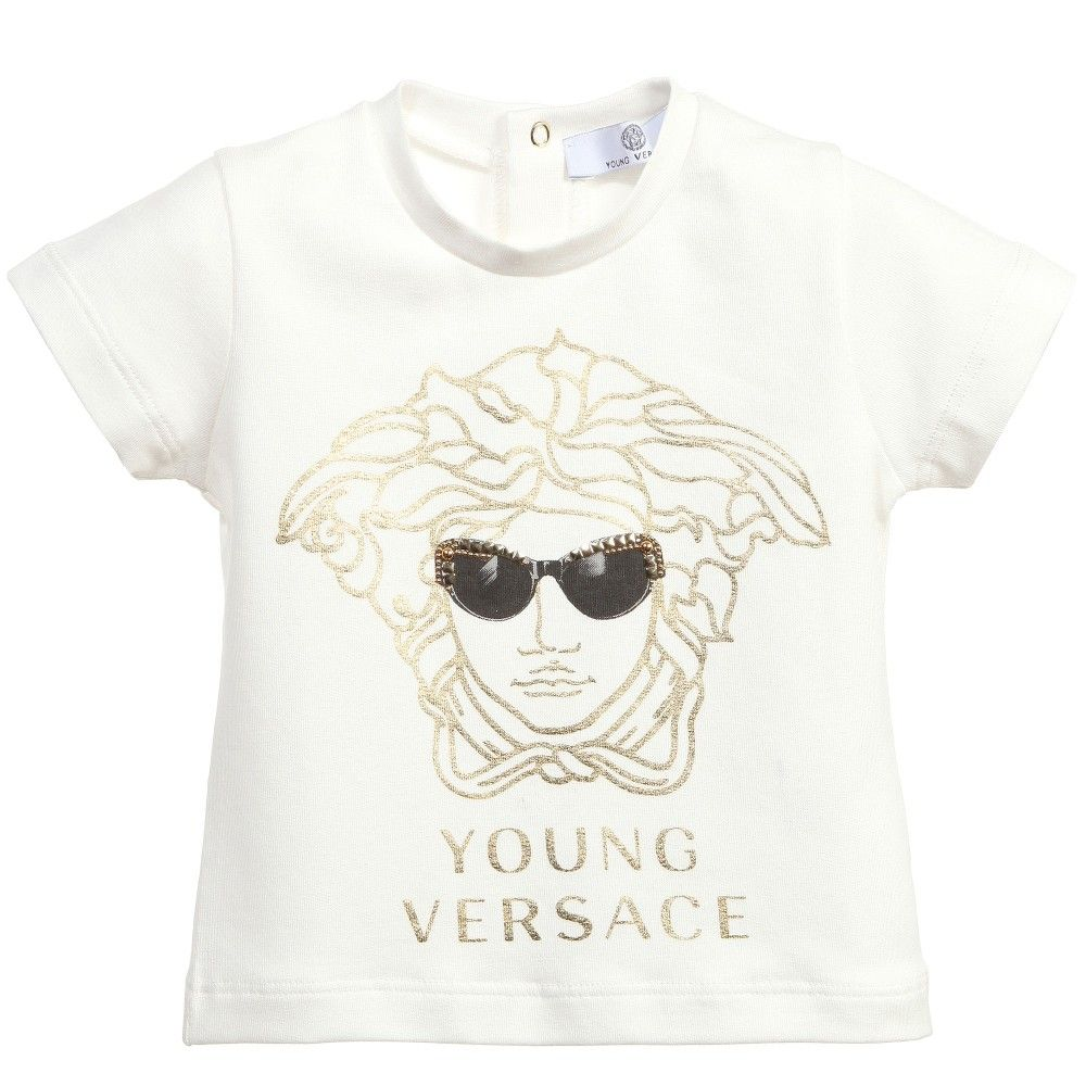 37c34e34 Baby Girls Ivory T-Shirt with Gold Medusa Print, Young Versace, Girl ...