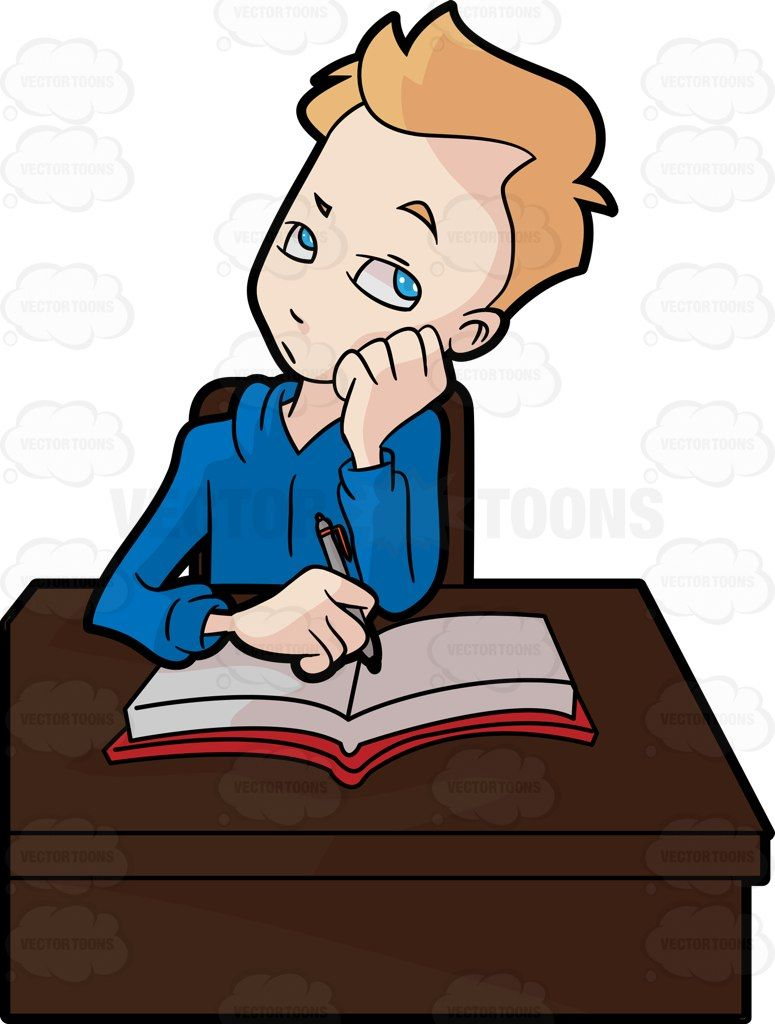 a male student thinking of something while studying clip art rh pinterest com studying clipart free clipart studying